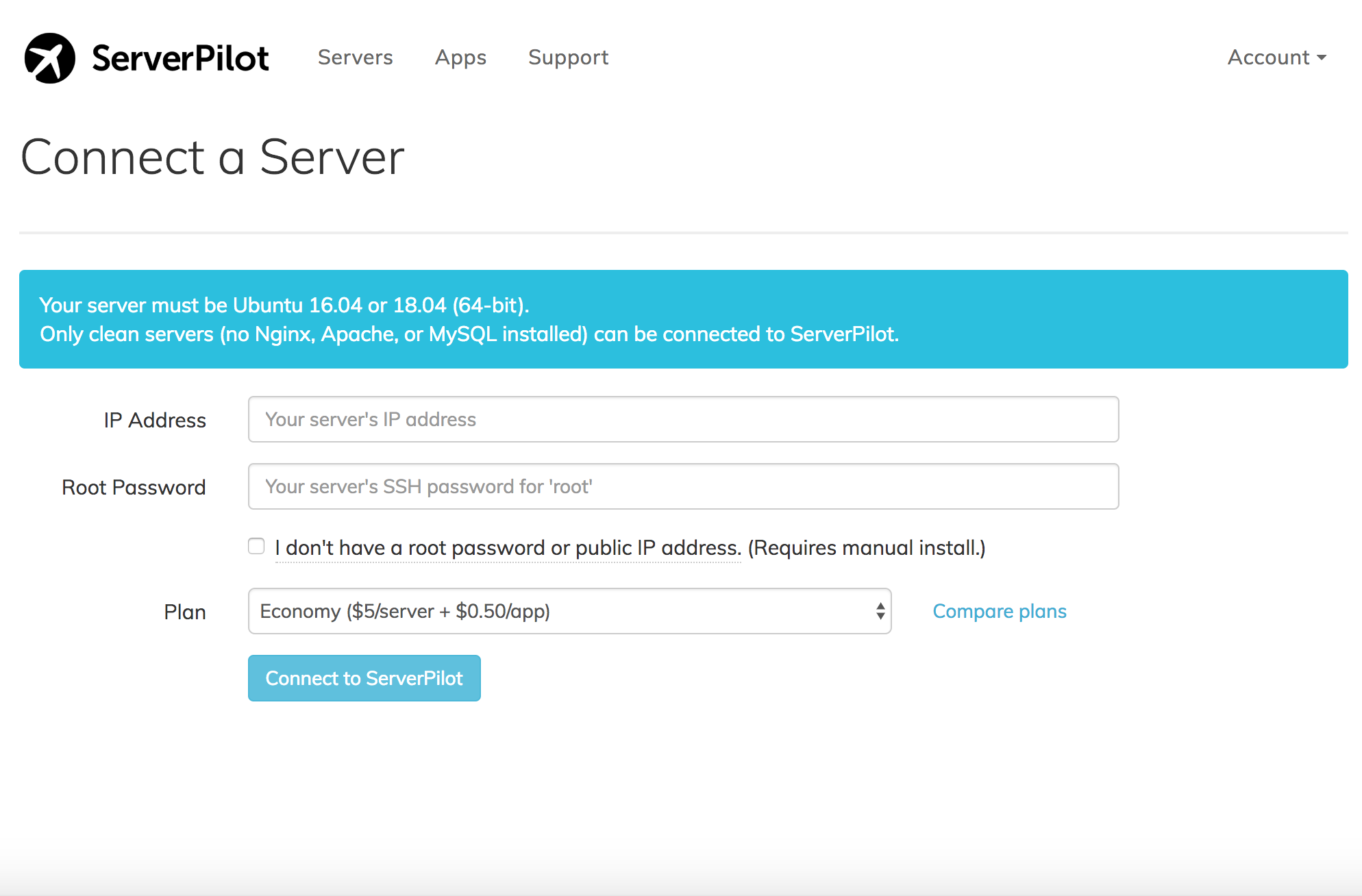 Connect server to ServerPilot